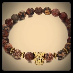Brown and Tan Tiger Head Lava Stone Bracelet!